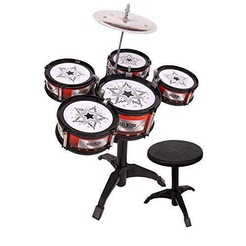Suppemie Juego de tambor para niños, juguete musical, juego de batería para niños, mejora la coordinación mano-ojo, escuchar y tocar por los niños
