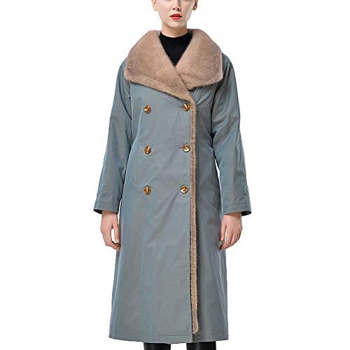 Byfjkkl Abrigo para mujer con solapa extraíble de felpa con forro cálido, chaqueta de dos hileras, L
