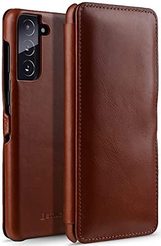 StilGut Book Hülle kompatibel mit Samsung Galaxy S21 5G Hülle aus Leder mit Clip-Verschluss, Lederhülle, Klapphülle, Handyhülle - Cognac Antik