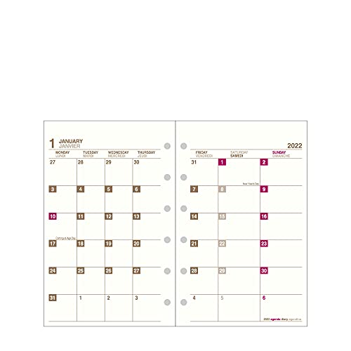 エトランジェ ディ コスタリカ システム手帳リフィル マンスダイアリー 2022年 ミニ 6穴 アイボリー2C 2021年12月始まり 0101-SREF-M-01