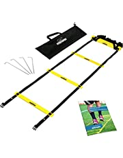 meiwar koordinationsguide 6 m – träningsstegsset I Agility-stege med robusta groddar för koordinationsträning, Fussball Training, Basketball | Speed Ladder i gul