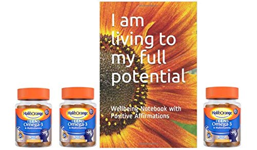 Haliborange Teens Multivitamins Orange Omega-3 30x3 Softie Bundle and Positive Affirmation Note Book