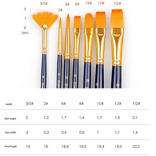 Easel-Feng Multifunction Paint Brush Set, Blue Handle Nylon Hair Paint Brush Anti-shedding Durable Paint Brush, Suitable for Children and Adults (Color : Blue, Size : C)