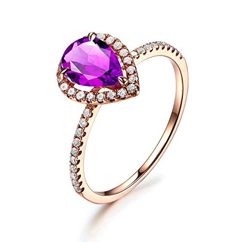 Bishilin Anillo de Compromiso de Plata de Ley 925 para Mujeres Ajuste Cómodo Anillos de Amistad Púrpura Pera Cristal Piedra del Zodíaco Anillo de Compromiso de Boda Oro Rosa Talla: 25