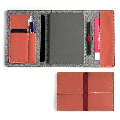 HillSee – Étui de protection A5 multifonction avec étui de protection et porte-stylo – Organiseur de notes – Couverture en feutre de qualité supérieure – Orange soleil