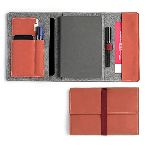 HillSee – Diario Funda A5 multifuncional Estuche con funda para teléfono móvil y soporte para bolígrafo, agenda organizadora, cubierta de fieltro de diseño de alta calidad, 24 x 16 cm, color naranja