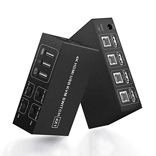 KVM Switch HDMI 4 Port Umschalter, 4K @ 60Hz 4 In 1 Out KVM USB Switchbox für 4 PC Freigabe Tastatur Mausmonitor, kompatibel mit Laptop, PC, PS4, Xbox HDTV