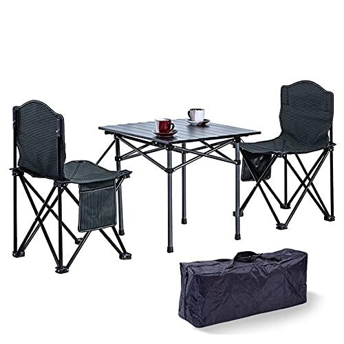 QAZ Mesa De Campamento Portátil, Mesa De Campamento Plegable De Aluminio Liviano con Bolsa De Almacenamiento,con 2 Sillas,para Al Aire Libre, Picnic, Playa, Senderismo, Pesca