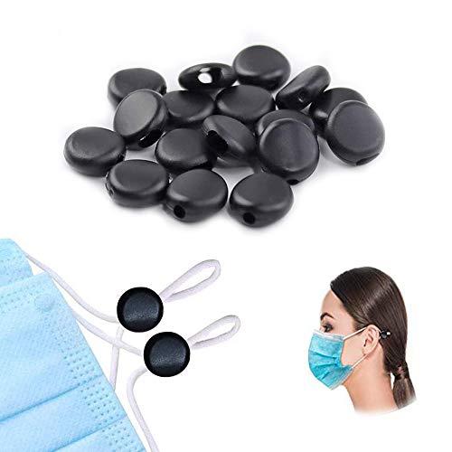 Cord Locks for Masks, Silicone Rope Toggles for Drawstrings, Adjustable Mask Elastic Cord Buckles Earloop Locks Non-Slip Stopper Adjuster, Suitable for Adult Children Masks(100Pcs)