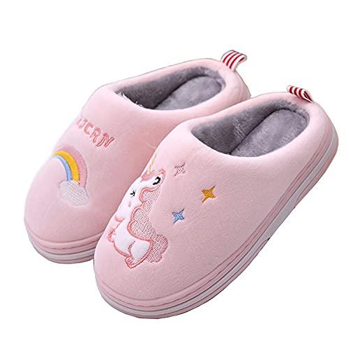 Chausson Enfant Fille Pantoufles Hiver Chaussures Chaudes pour La Maison en Fille, Licorne Rose, Taille 31/32 EU=32/33 CN