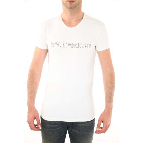 Armani - Camiseta de microfibra COL redonda, color blanco, 52
