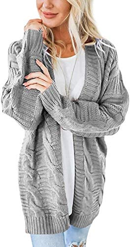 SheSublime Cardigan Sweaters for Women Long Sleeve Soft Chunky Knit Cable Sweater Cozy Open product image