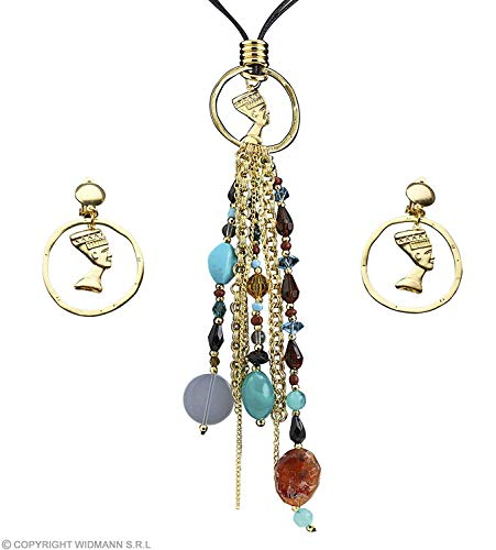 Cleopatra Necklace & Earring Set Fancy Dress Costume Jewellery for Outfits Bling Accessories Accessory Egyptian
