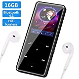 SOOTEWAY Lettore MP3, 16GB Bluetooth Portatile Lossless Sound MP3 Lettore, MP3 Player, Pulsante di Tocco, Radio FM/Registratore Vocale/Foto/E-book, Supporto Fino a 64GB, Cuffie Musicali Inclusi
