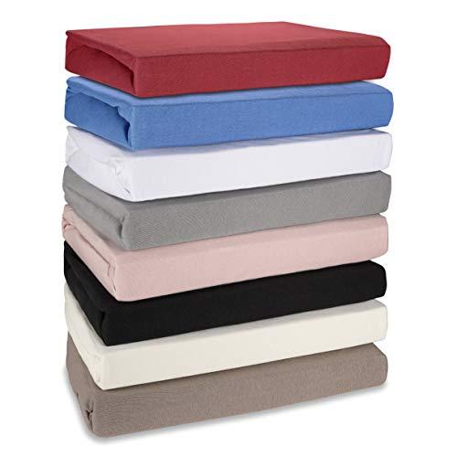 Hometex Premium Textiles Spannbettlaken Spannbetttuch bis 30 cm Steghöhe | Bettlaken aus 100% Baumwolle 145g/m² - MARKENQUALITÄT ÖKO-TEX Standard 100 | 90 x 190 cm bis 100 x 200 cm WEINROT