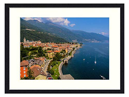 OiArt Wall Art Print Wood Framed Home Decor Picture Artwork(24x16 inch) - Lago Maggiore Lake Italy Landscape Panorama