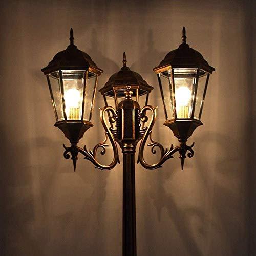 aipipl Luces de Poste Alto Impermeables de 3 Luces Lámpara de Calle Linterna de Vidrio Antiguo Villa de jardín de Metal de Aluminio Lámpara de Piso de césped Externa Decoración E27 Lámpara de Poste
