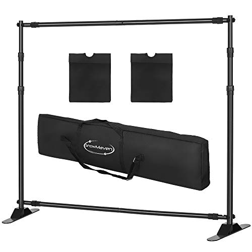 ShowMaven 10x8ft Photography Backdrop Stand Heavy Duty, Background Support Stand,Banner Stand Adjustable Trade Show Display Stand Step and Repeat Stand