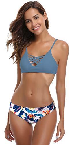 SHEKINI Mujer Conjunto de Bikini de Dos Piezas Almohadillas Bañador Estampar Trajes de Baña (Fairy Blau, Large)
