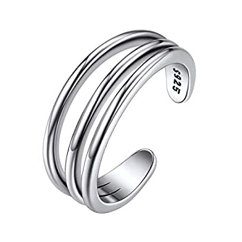 Sterling Silver 3 Row Simple Toe Ring Hypoallergenic 925 Silver Adjustable Open Toe Rings for Women