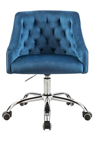 Velvet Fabric Swivel Task Chair for Home Office Ergonomic Comfortable Chair - Navy Blue with Dirt-Proof M-6030S
