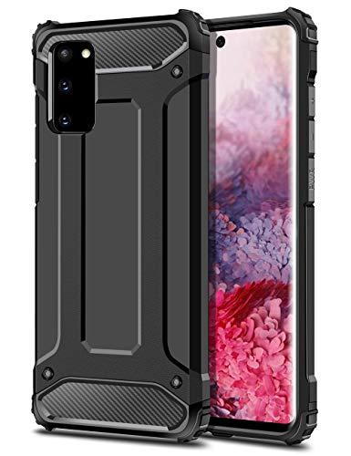 Coolden für Samsung Galaxy S20 Hülle Outdoor Stoßfest Handyhülle Samsung S20 Schutzhülle Premium [Armor Serie] Doppelschichter Case Tough Silikon TPU + PC Bumper Cover (6.2 Zoll,Schwarz)