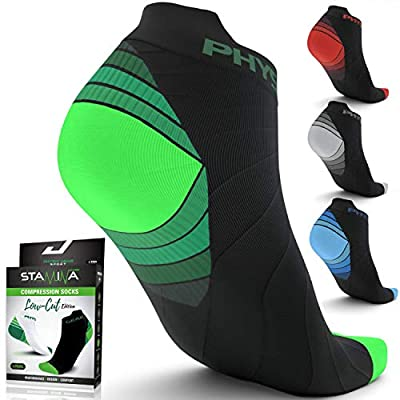 Physix Gear Sport Compression Running Socks for Men & Women Plantar Fasciitis - 2PAIR GRN WHT L/XL from Physix Gear Sport