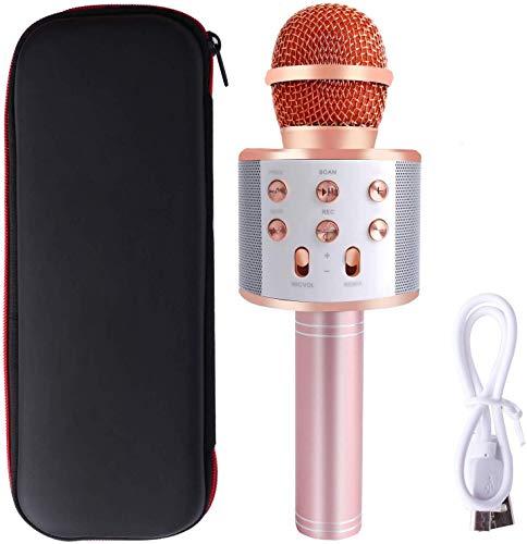 HTMSR Karaoke Mikrophon, Karaoke Anlage Kinder, Bluetooth Karaoke-Mikrofon Tragbare Handheld Karaoke Mic Home Party Weihnachten Geburtstag Lautsprecher Maschine Für iPhone/Android