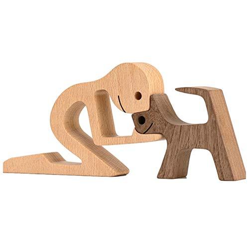 D/L Neueste Holzfiguren Skulptur Ornamente Set, abstrakte Stil Menschen mit Hund Statue, Freundschaft zwischen Hund und Menschen Denkmäler Statue für Home Office