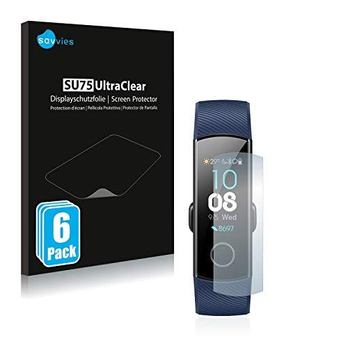 Savvies 6X Schutzfolie kompatibel mit Huawei Honor Band 4/5 Displayschutz-Folie Ultra-transparent