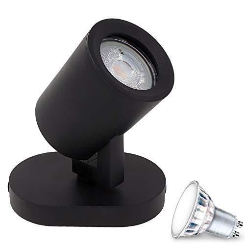 Aufbauleuchte Deckenleuchte Aufputz MIAMI Schwarz 1-Flammig (5W) IP20 GU10 inkl. LED 1x 5W Warmweiss, Deckenleuchte Strahler Deckenlampe Kronleuchter aus Stahl, horizontal und vertikal einstellbar