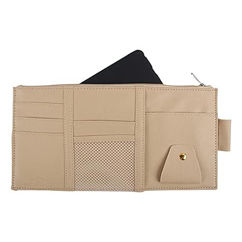 Kaimeilai Organizador de visera, de piel sintética, para el parasol del coche, accesorio interior del coche, con cremallera, bolsillo para tarjetas y auriculares.