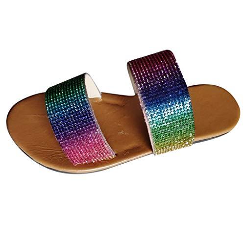 Hausschuhe Sommer Damen Flip-Flops Sandalen Kristall Roman Flats Casual Beach Schuhe (42,Mehrfarbig)