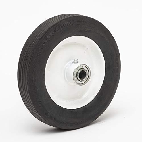 Lapp Wheels 8' Hard Rubber Wheel, White Rim, Ribbed Tread, 8+1.75 Wheel Size