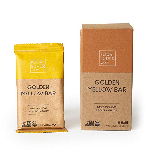 Your Super Golden Mellow Superfood Energy Bars - Plant Based Snacks, Vegan Breakfast and Backpacking Food - Organic, Gluten Free Dairy Free Snacks - 10 Count