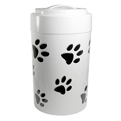 Best Prices! Pawvac 5+ Pound Vacuum Sealed Pet Food Storage Container; White Cap & Body/Black Paws