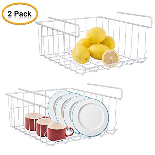 Shayson Cesta colgante, debajo del estante de almacenamiento Cesta colgante de alambre, organizador Cesta de almacenamiento de malla extraíble para cocina, despensa, baño (2 piezas, blanco)