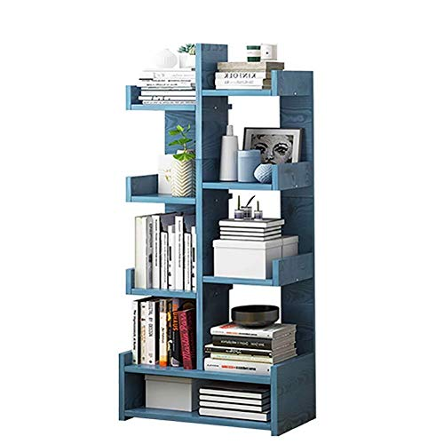 GJX Book Ends Bookends Shelf Book Tall Tree Shaped Bookshelf,thickened Multipurpose Shelf Display Rack Storage Rack Open Wood Shelves For Home Or Office (Color : Blue)