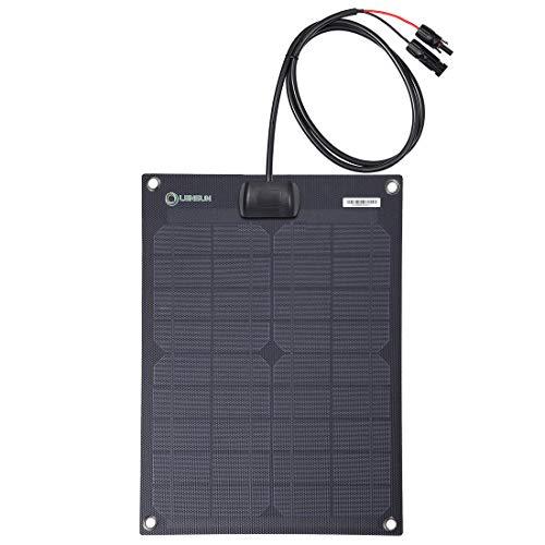 Lensun 20W 12V ETFE Black Flexible Solar Panel, Ultrathin Ultra Lightweight, PERC Mono Solar Cells, for Campers, RVs, Boats,Camping, Tent