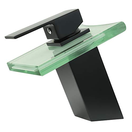 TSGPS GmbH - Miscelatore monocomando per lavabo con erogazione a cascata e vetro trasparente, design contemporaneo, colore: Nero opaco