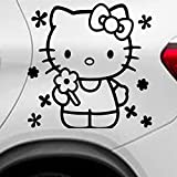 LEON-FOLIEN 2 pegatinas Hello Kitty 14 x 10 cm niña gato niños Cartoon Auto adhesivo tatuaje adhesivo tatuaje brillante pantalla en negro – 2 unidades