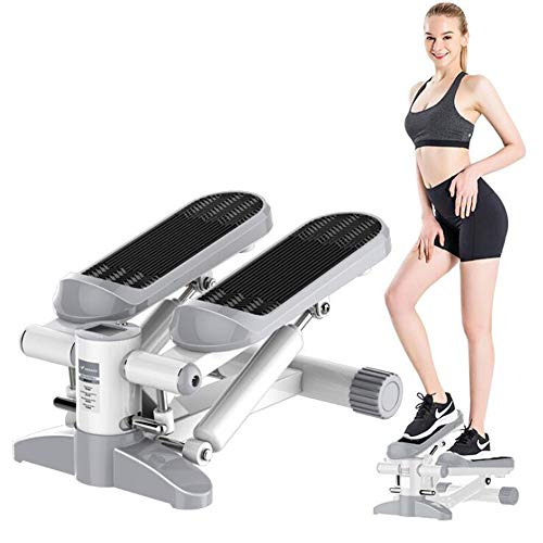 Fitness Hydraulische Stepper, mannen en vrouwen Stepper Cardio Oefening Trainer, Monitor en Resistance Bands Stepper Oefeningen Equipment,Gray