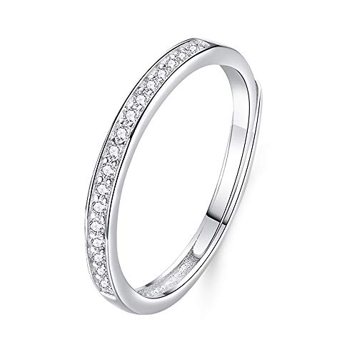 PRETTERY Adjustable Open Rings Set 925 Sterling Silver Cubic Zirconia Rings for Women Men, Anniversary Wedding Engagement Bridal Band Ring