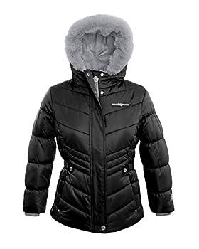 ZeroXposur Girls Puffer Jacket Fleece Lined Winter Coat with Hood and Faux Fur Trim  Black Small