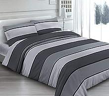 Funda nórdica de 3 tamaños, de puro algodón, fabricada en Italia, con diseño de rayas y rayas, color gris