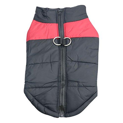 Idepet Manteau d'hiver pour Chien Vêtements Imperméables pour Petit Moyen Grand Chien Chat Taille S L L XL XXL 3XL 4XL 5XL (L, Rouge)