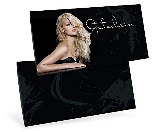 Gutscheinkarten (10 Stück) - Geschenkgutscheine für Friseur, Hairstyling, Stylist - DIN lang Faltkarte verschließbar, blanko Vordruck zum Eintragen der Werte