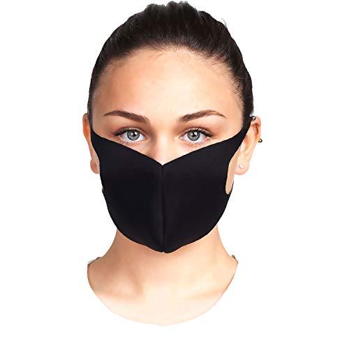 5 x Behelfsmaske Waschbar Schwarz aus neuartigem Premium Polyurethan Schaumstoff, Atmungsaktive Sportmaske, Modemaske, Unisex Alltagsmaske, schlicht, enganliegend
