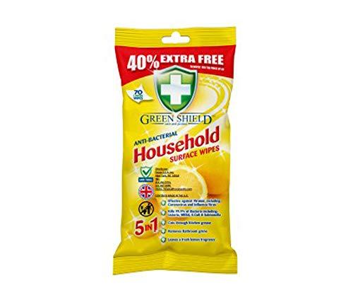 5 toallitas húmedas Green Shield para superficies domésticas con aroma a limón.