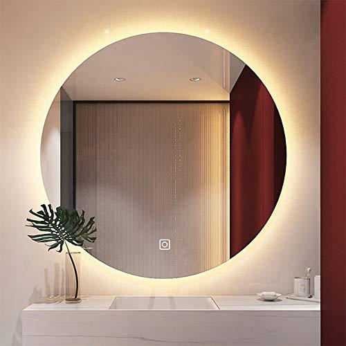 Espejo redondo con luz LED retroiluminado Espejo de baño redondo Espejo de baño montado en la pared Espejo de baño inteligente con lámpara Espejo 50 * 50/60 * 60/70 * 70cm Espejo antivaho de un solo